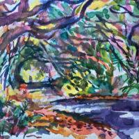 """Kalani Tree Tunnel, watercolor, 4"""" x 6"""""""