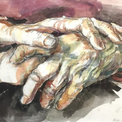 Hands, watercolor, 9x11
