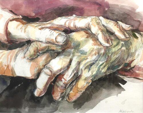 Hands, watercolor, 9x11