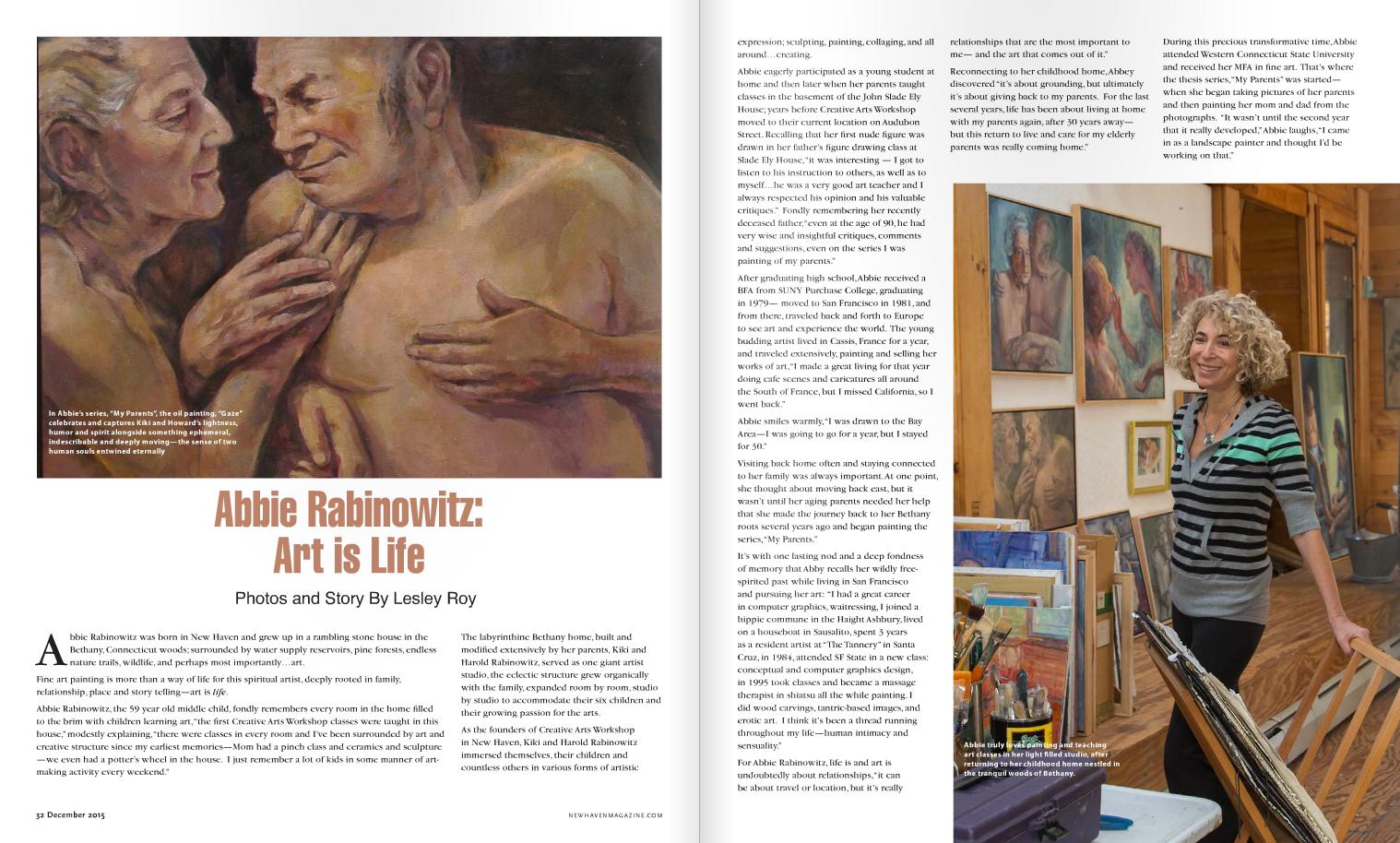 New Haven Magazine, interview, December, 2015