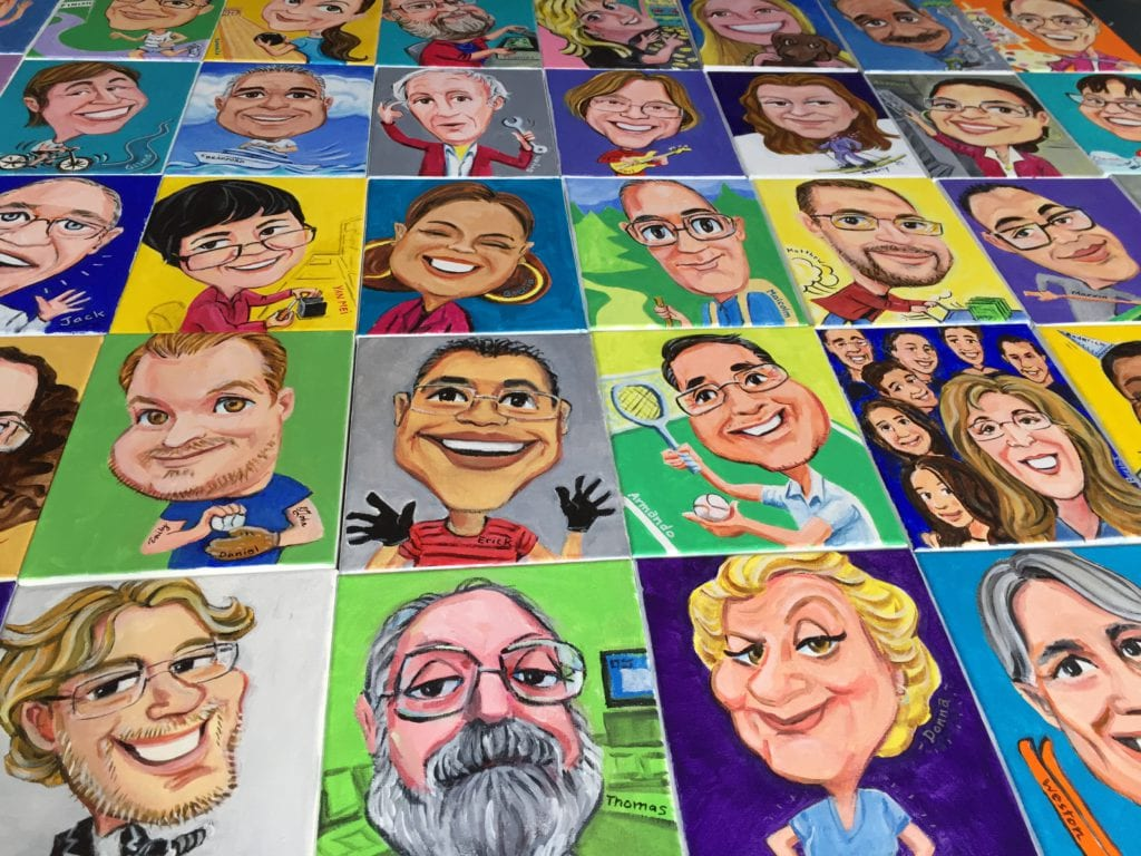 group of caricature paintings