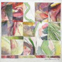 Antherium Medley, collage, 8x8