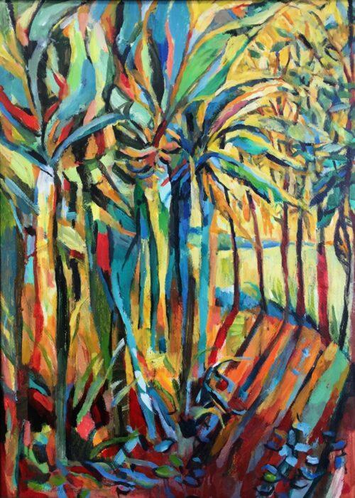 Banana Trees, acrylic on paper, 28x21