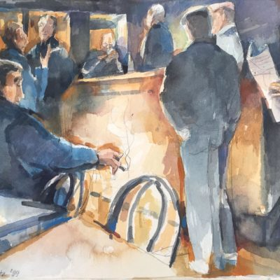 Cafe Gathering, watercolor, 7x10
