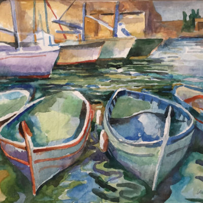 Cassis Boats, watercolor, 13x17