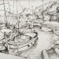 Cassis Port, ink drawing, 13x16