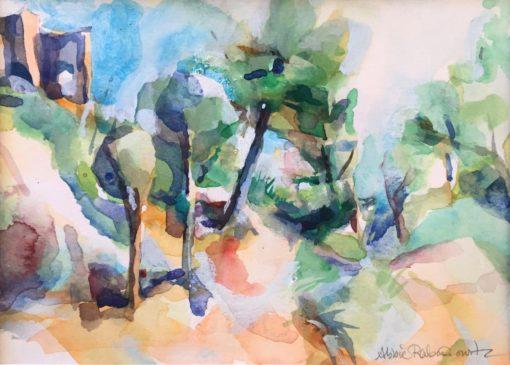Castle View, gouache on paper, 5x7