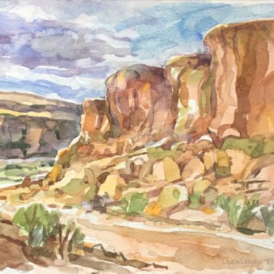 Chaco Canyon, watercolor, 7x9