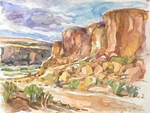 Chaco Canyon, watercolor, 7x9