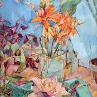 Cubist Lilies, oil on board, 22x18