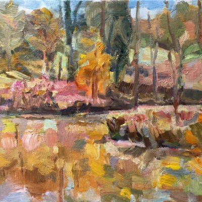 Danbury Pond, oil on board, 8x10