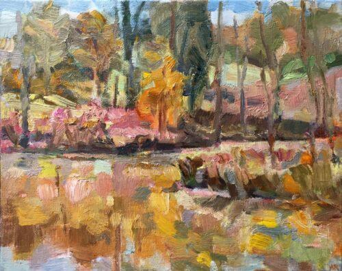 Danbury Pond, oil on board, 8x10