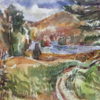 Downs Road, watercolor, 8x12