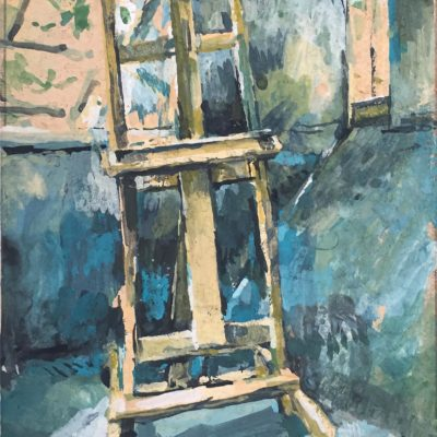 Empty Easel, gouache on board, 7.5x4