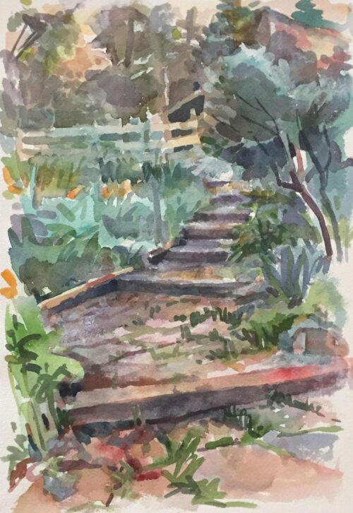 Garden Steps, watercolor, 14x9