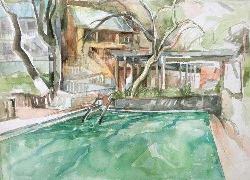 Harbin Pool, watercolor, 12.5x17.5