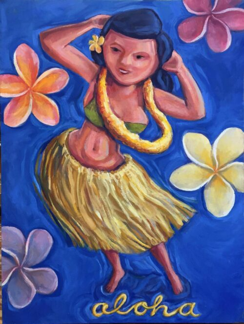 Hula Dancer, oil on canvas, 24x18