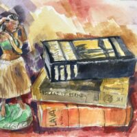 Hula and Books, watercolor