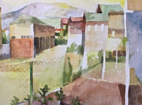 "Back Yard, watercolor, 9""x13"""