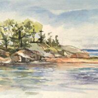 Island, watercolor, 6x12