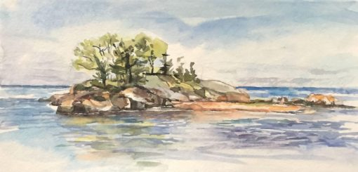 Island, watercolor, 6x12