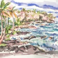 Kalapana Coast, watercolor, 9x13