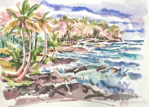 Kalapana Coast, watercolor, 9x13