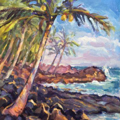 Coastal Palm, oil on board, 14x11