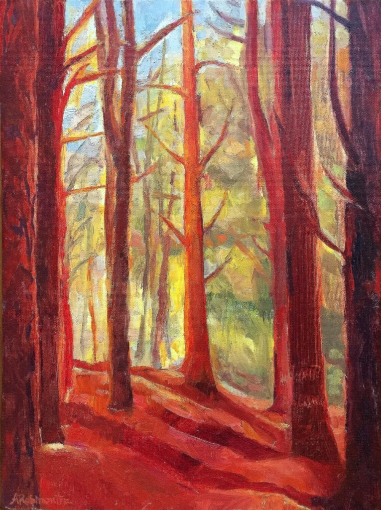 Red pine oil on board painting by abbie rabinowitz for Watercolor painting classes near me