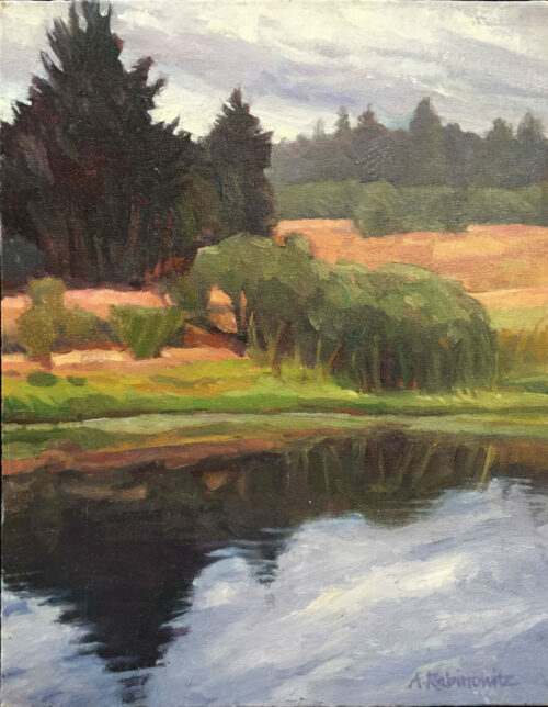 Reflecting Pond, oil on board, 14x11