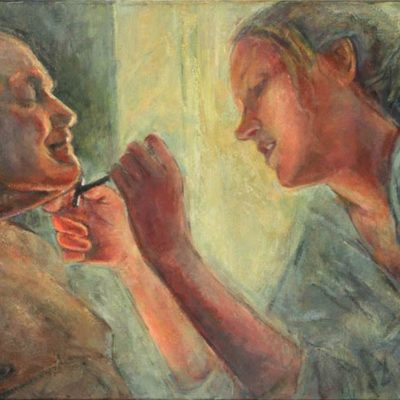 Shave, oil on canvas, 24″ x 33″