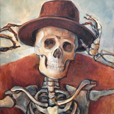 Skull with Hat, oil on board, 24x20
