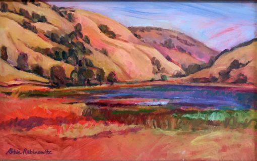 Stafford Lake, oil on board, framed, 22x32