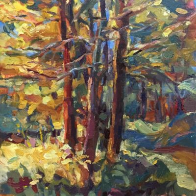 Tree Grove, oil on board, 14x11