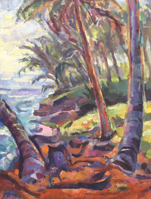 Tropical Coast, oil on board, 12x9