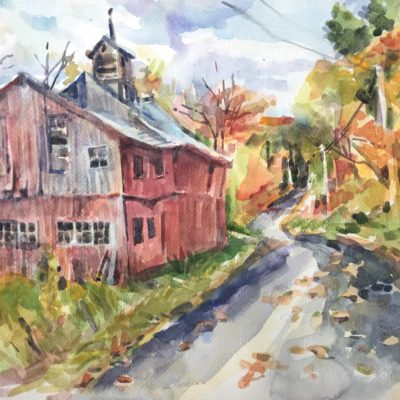 Wooding's Barn, watercolor, 15.5x22
