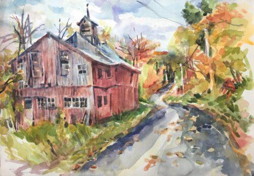 Wooding's Barn, watercolor, 15.5x22