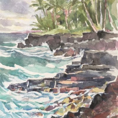 Big Island Coastline, watercolor, 12x9