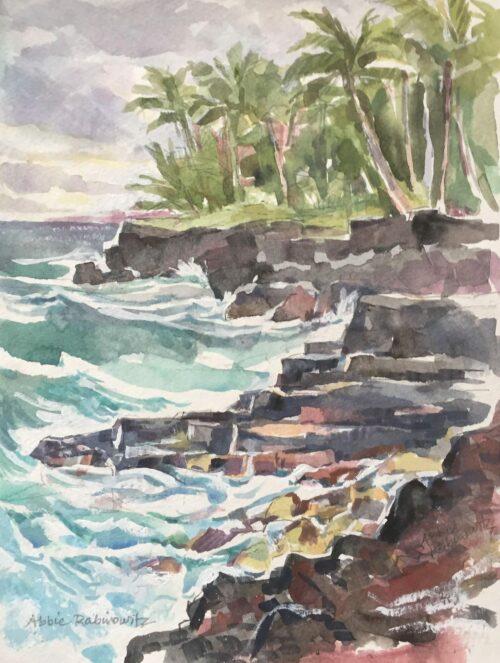 Big Island Coastline, watercolor, 12x9