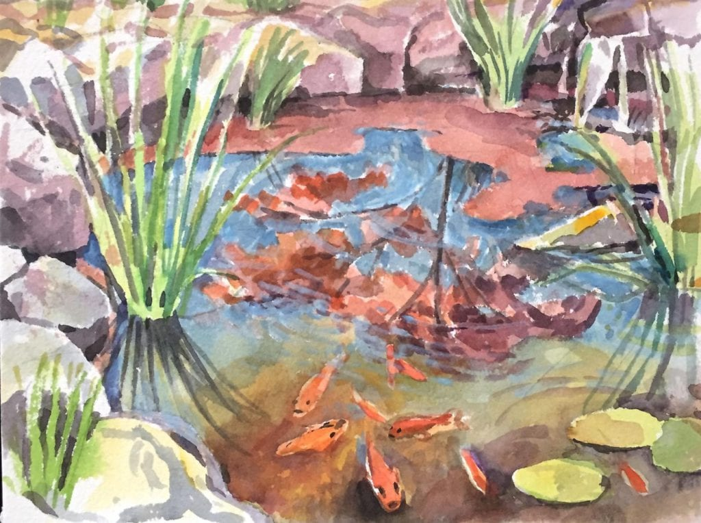 koi pond  watercolor painting by abbie rabinowitz