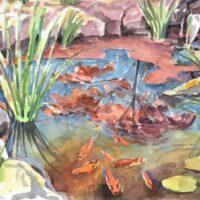Koi Pond, watercolor, 7x9