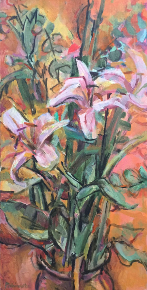 Lillies, oil on canvas, 24x12