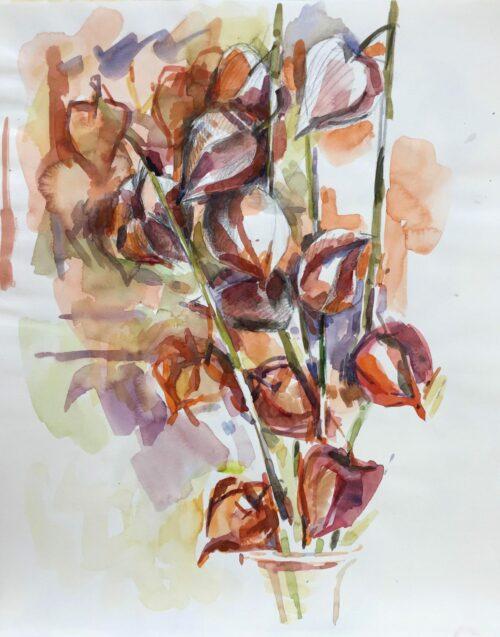 Pod bouquet, watercolor