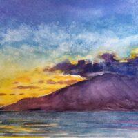Maui Sunset watercolor