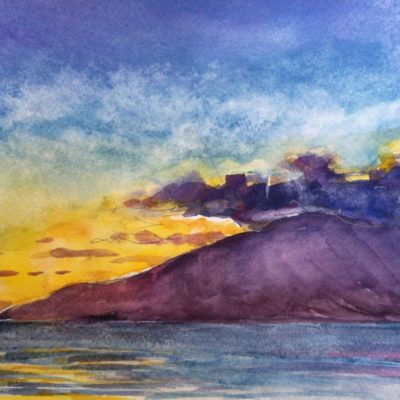 Maui Sunset watercolor