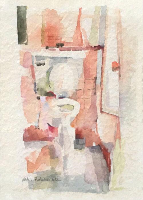 watercolor, toilet painting