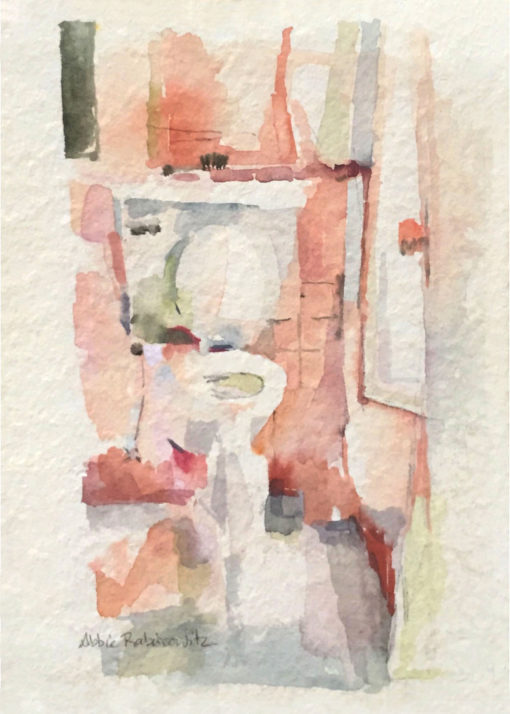 watercolor, toilet painting