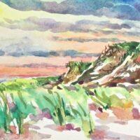Sunrise watercolor head of meadow