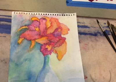 student orchids painting