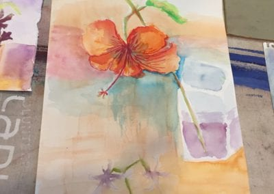 student hibiscus painting